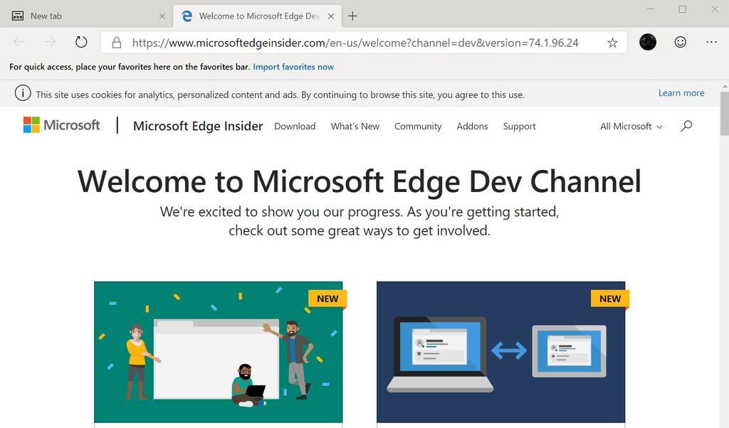 Uso de la versión de prueba del navegador Chromium Edge