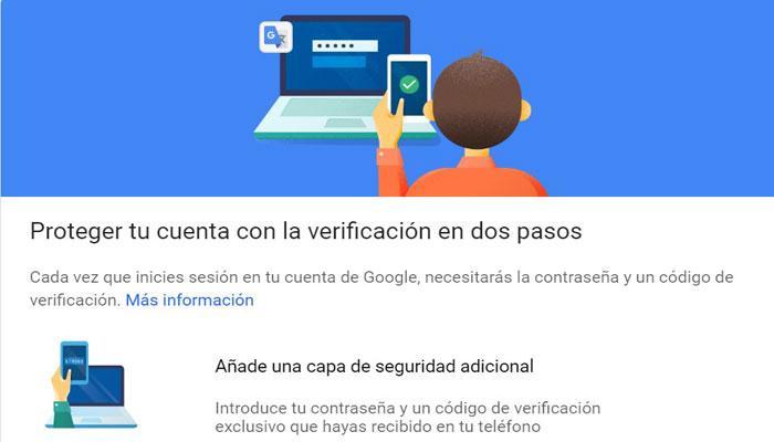 Verificar dos pasos en cuenta Google