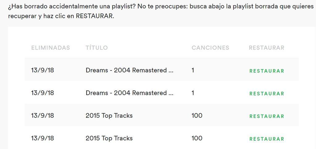 Recuperar lista borrada en Spotify