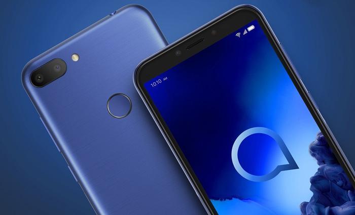 Diseño del Alcatel 1S con fondo azul