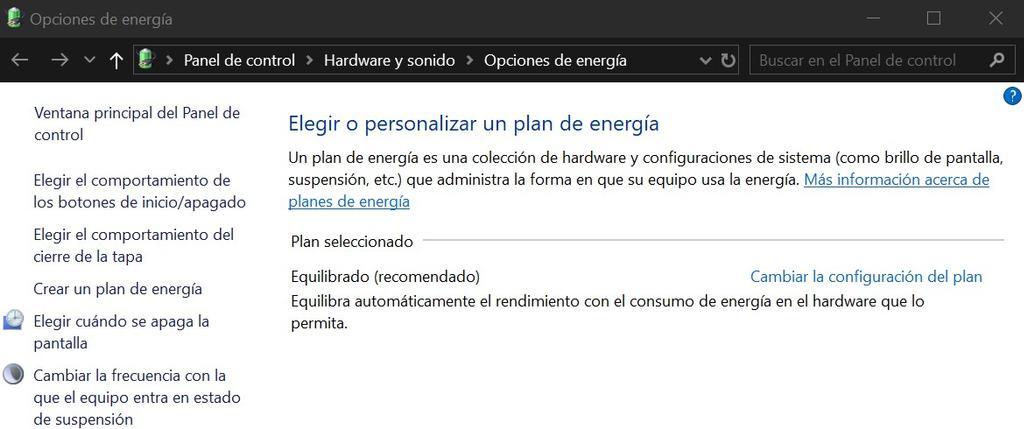 Opciones de energía en Windows 10