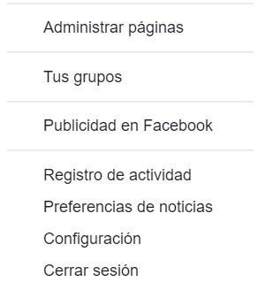 Opciones configuración en Facebook