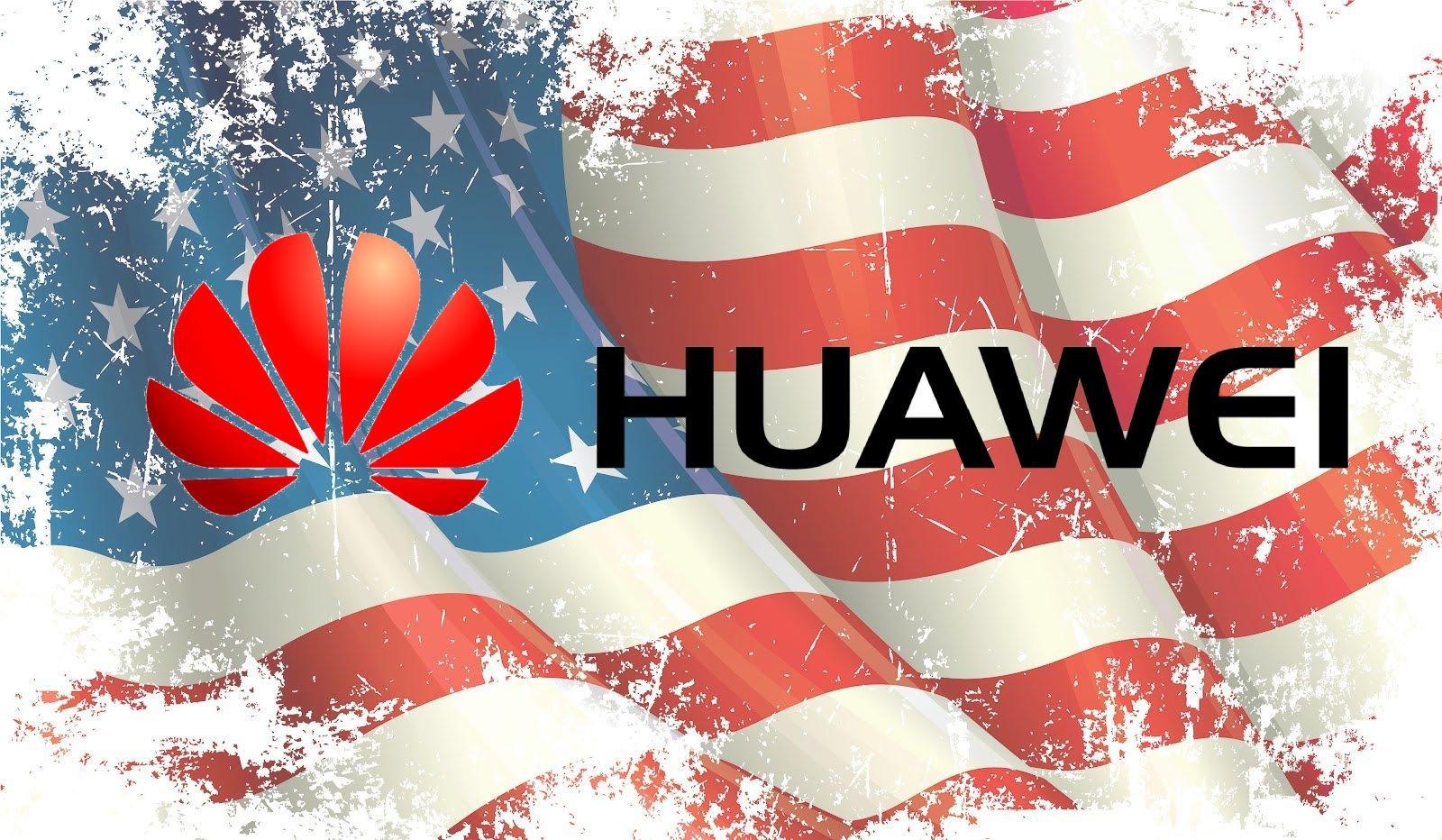 Logo de Huawei y bandera de Estados Unidos