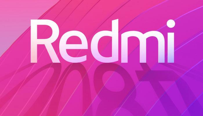 Logotipo de Redmi con fondo de color rosa