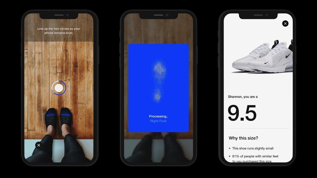 Interfaz de Nike Fit