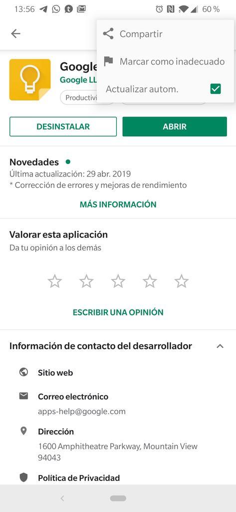 Actualizaciones automáticas en Play Store