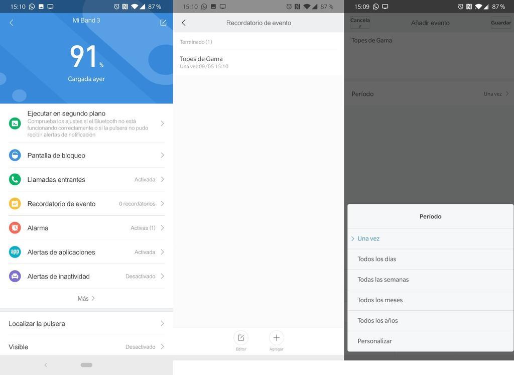 Interfaz de la pulsera Xiaomi Mi Band 3