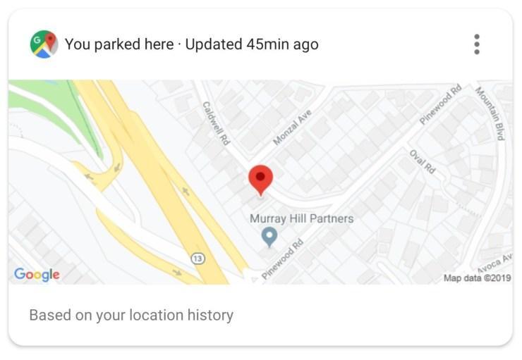 Tarjeta para aparcar en el asistente de Google
