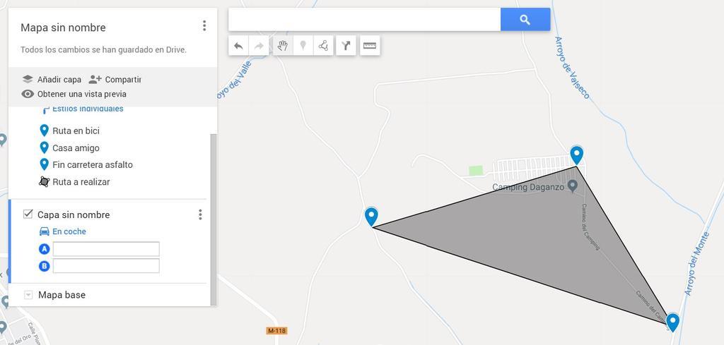 Mapa creado con Google Maps