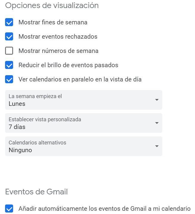 Selecciones en el calendario de Google