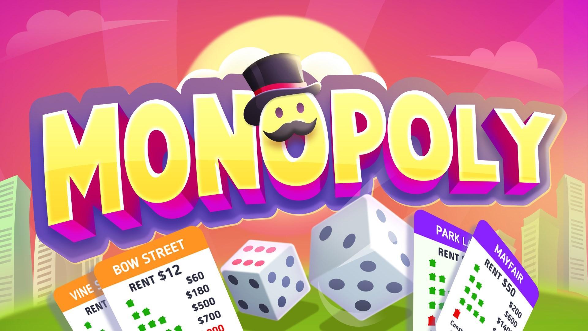 Logotipo de Monopoly con fondo rosa
