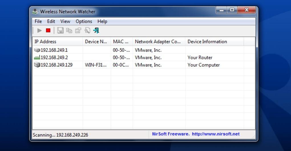 Aplicación Nirsoft Wireless Network Watcher para Windows