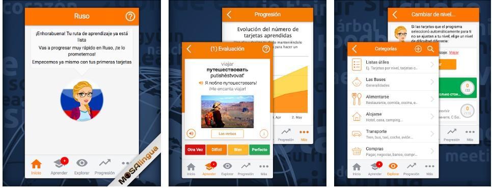 Aplicación Aprender ruso con MosaLingua