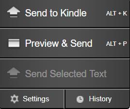 Menú de la extensión Send To Kindle