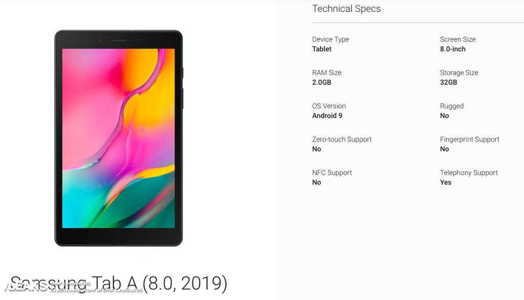Diseño del nuevo Samsung Galaxy Tab A 2019 8.0