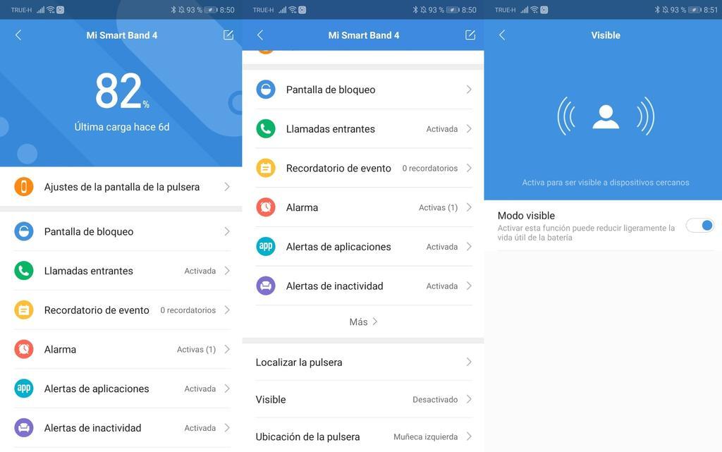 Interfaz app Xiaomi Mi Band 4