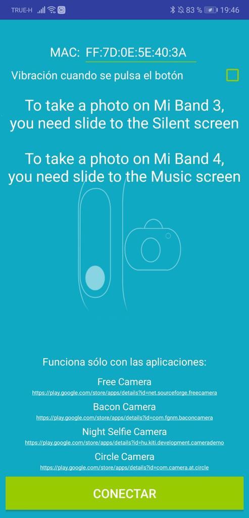 Interfaz de Mi Band 2/3/4 Amazfit Selfie
