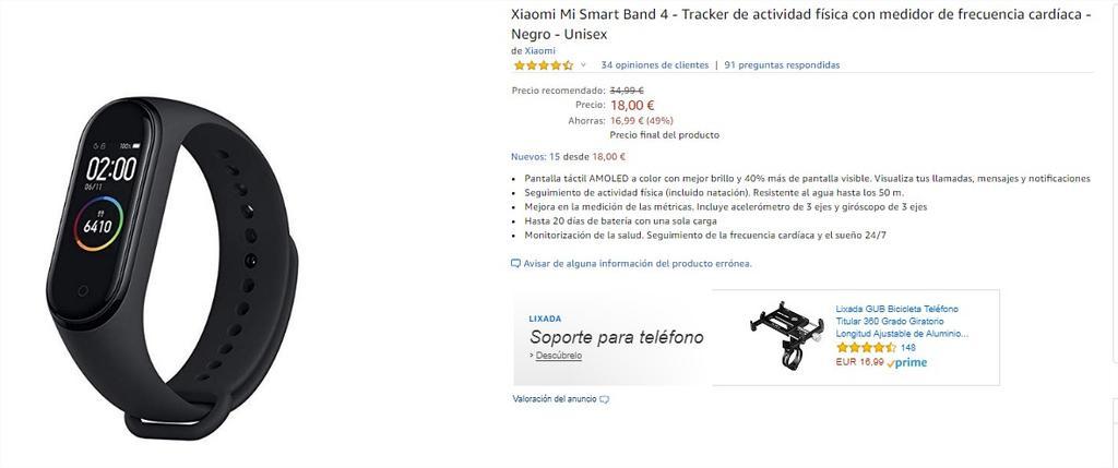 Xiaomi Mi Band 4 en Amazon