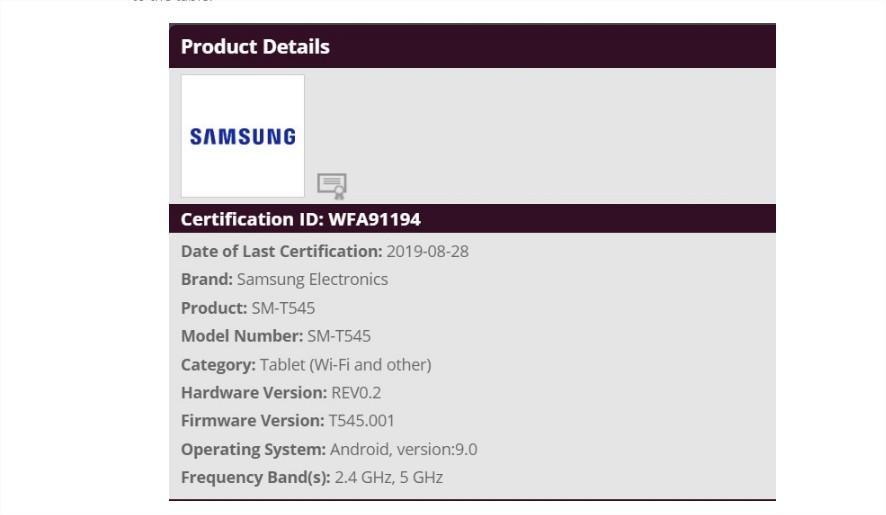 Certificación de la tablet Samsung SM T545
