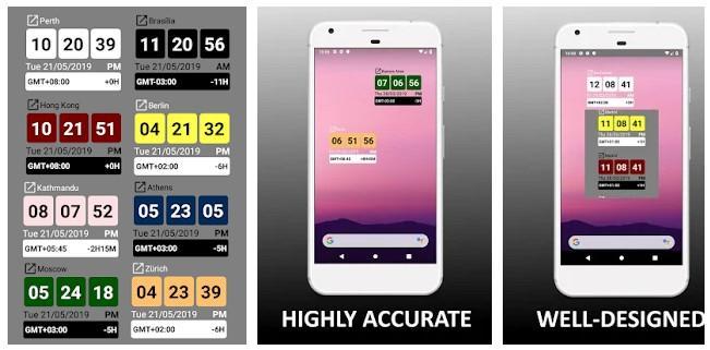 Aplicación Widget de Reloj Mundial +