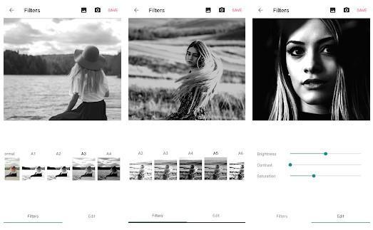 Aplicaicón Filtros de fotos en blanco y negro