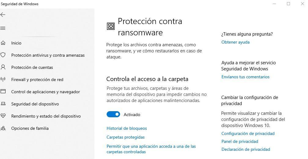 Protección frente a ransomwara en Windows Defender