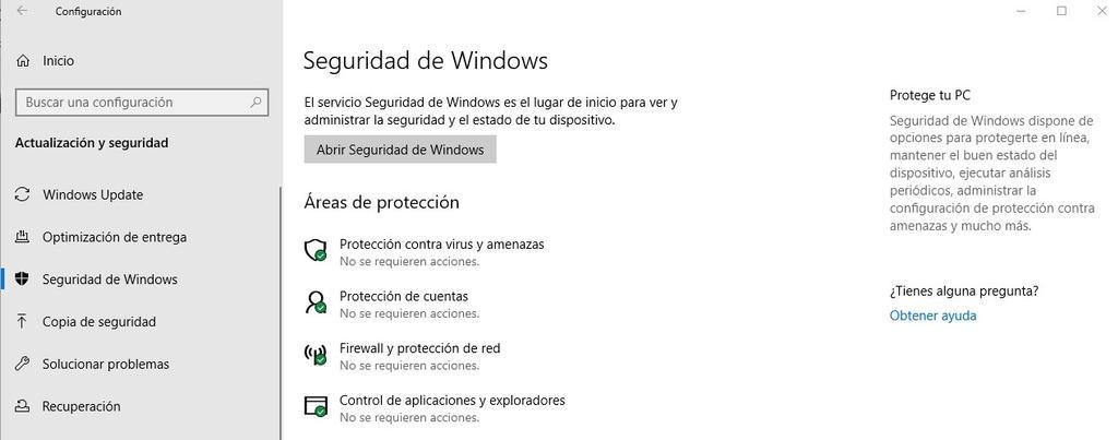 Opciones de seguridad en Windows 10
