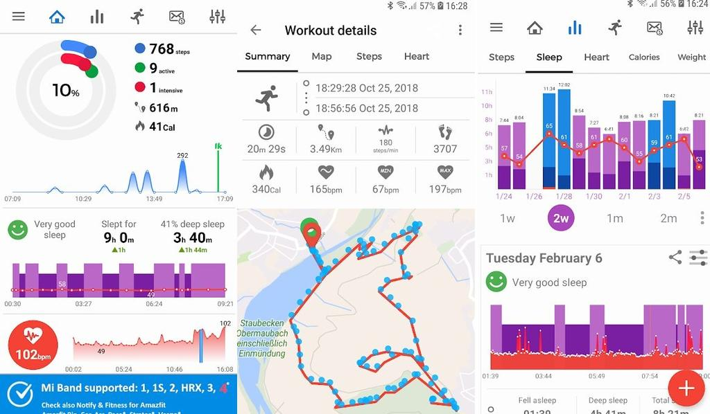 Interfaz de Notify & Fitness for Mi Band