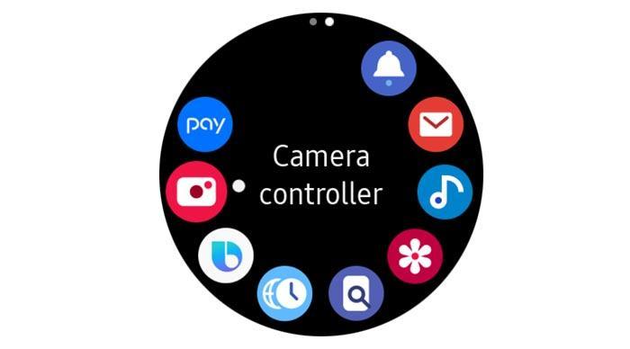 Interfaz Samsung Galaxy Watch Active con el Camera Controller