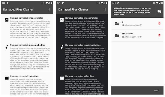 Aplicación Damaged Files Cleaner PRO