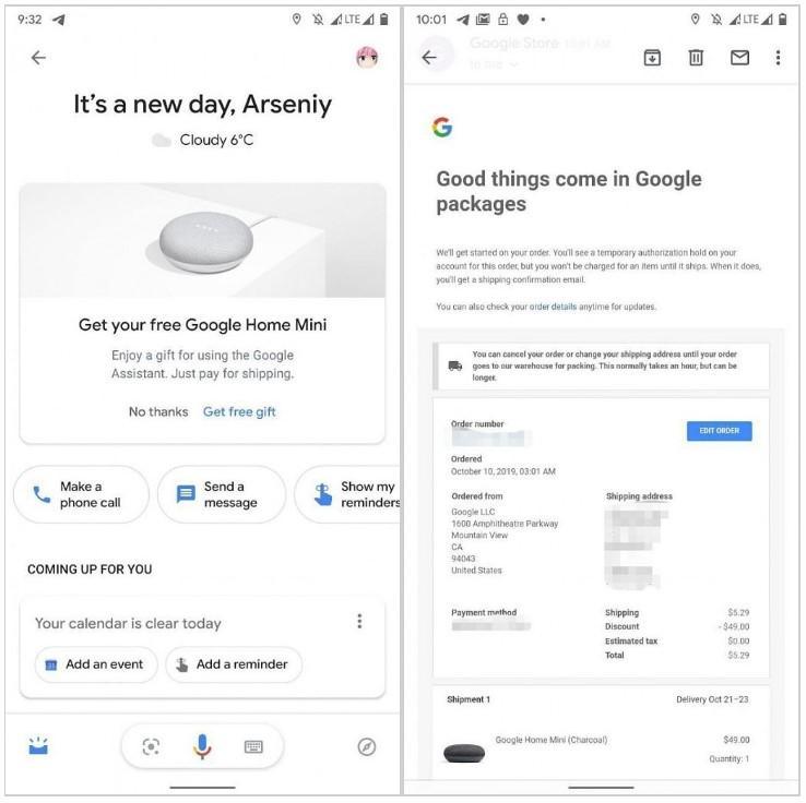 Aviso regalo Google Home Mini