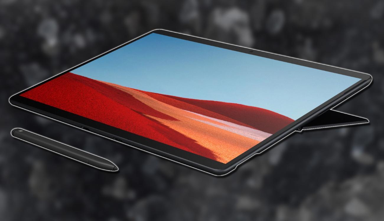 Microsoft Surface 7 con fondo negro