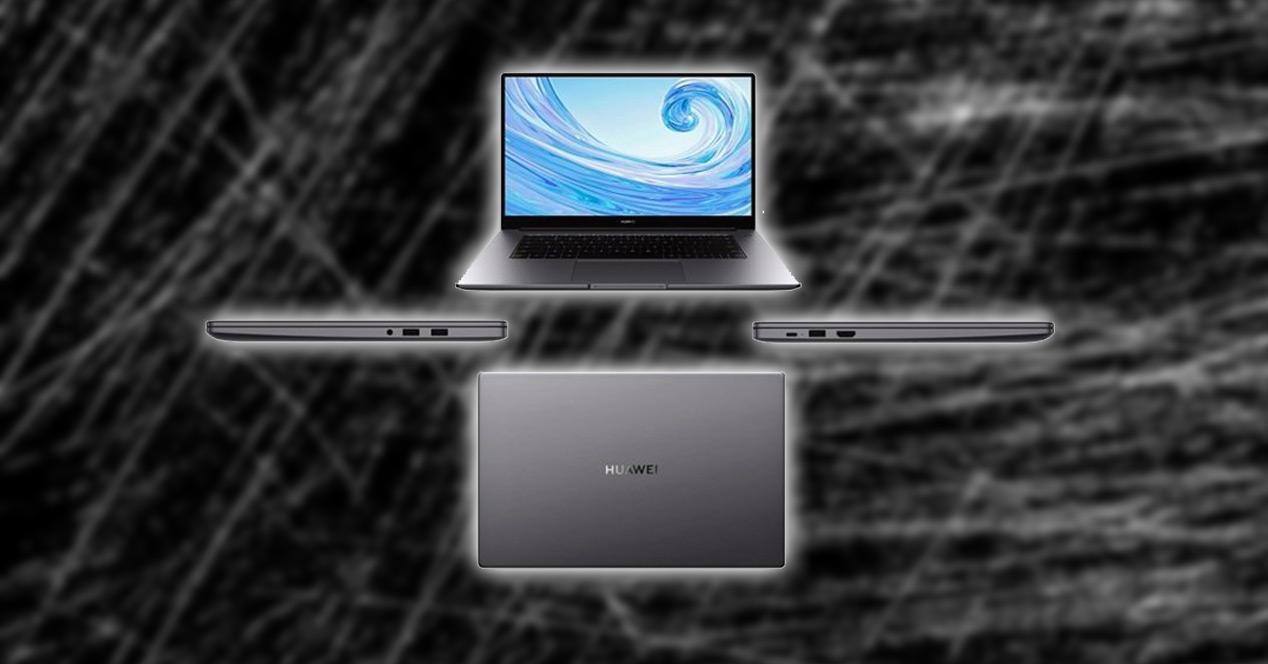 Huawei Matebook con fondo negro