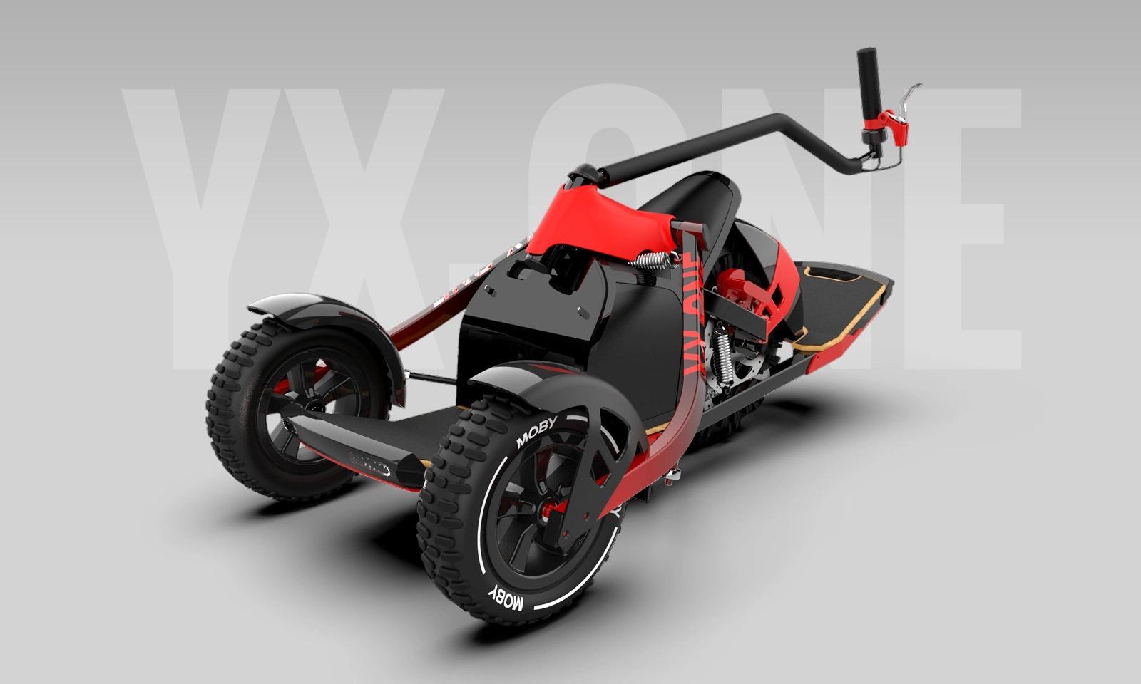 Diseño patinete eléctrico YX ONE con fondo gris