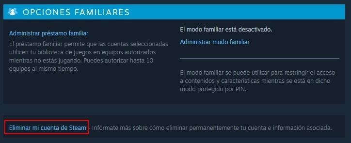 Opción Eliminar cuenta en Steam
