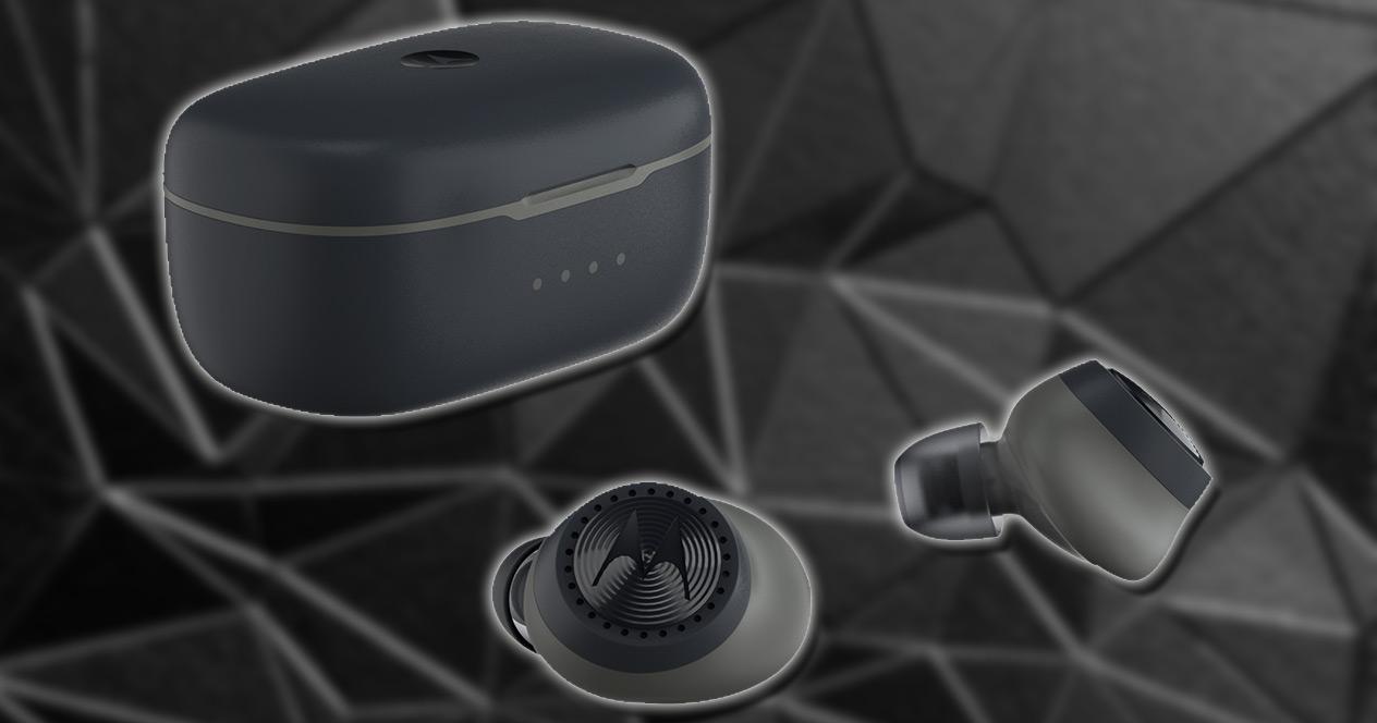 Auricualres Motorola VerveBuds 200 con fondo negro