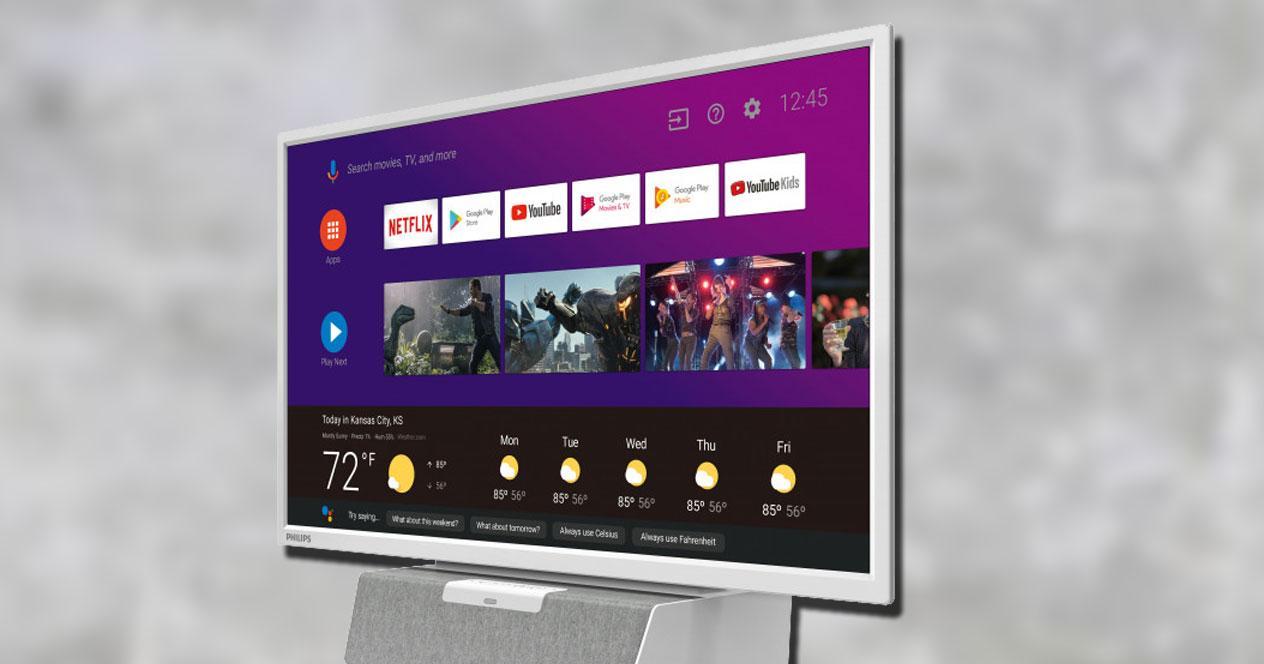 "Smart TV Philips 24"" Android TV con fondo gris"