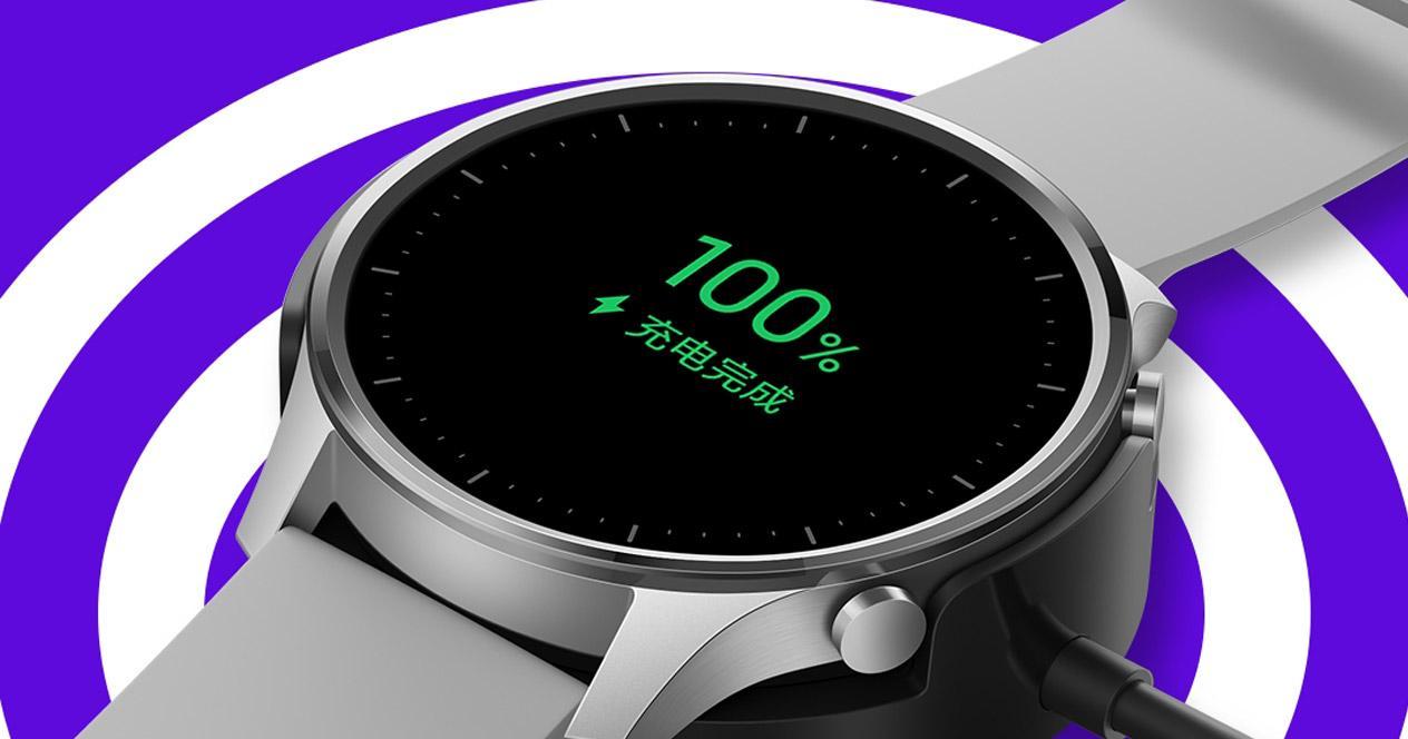 Xiaomi Mi Watch Color con fondo de círculos blancos
