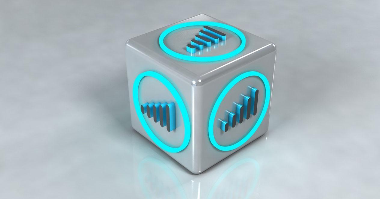 Logotipo WiFi en cubo