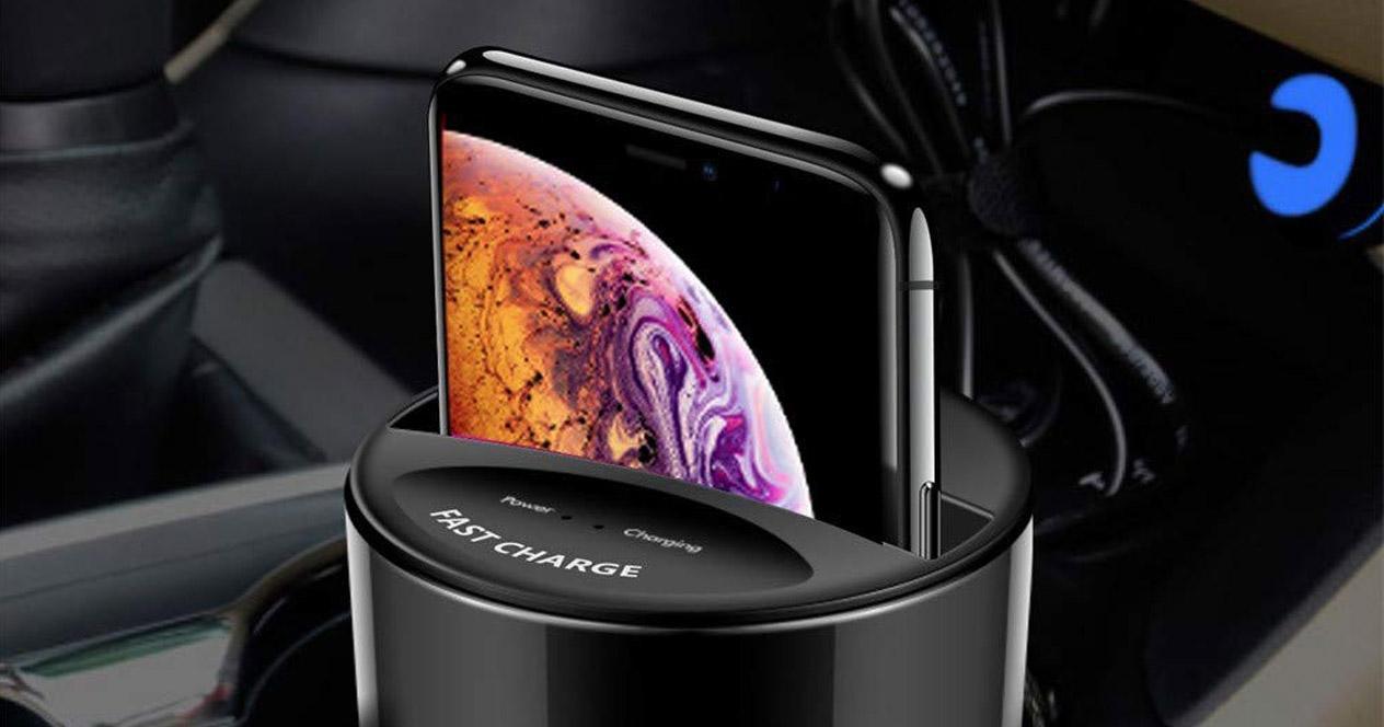 cargador de coche inalámbrico con forma de vaso