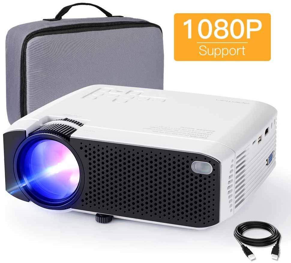 Proyector de Cine en Casa Full HD Soporta 1080P Audio Hi-Fi Pantalla de 200 Mini V/ídeo Proyector port/átil LED 60000 Horas para TV Stick// PS4// PC// HDMI// VGA// AV// USB