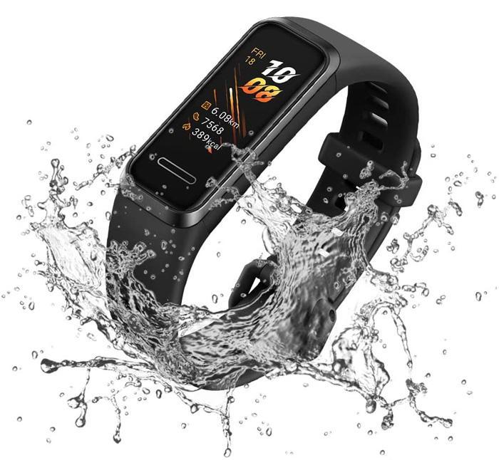 Banda inteligente negra y acuática Huawei Band 4