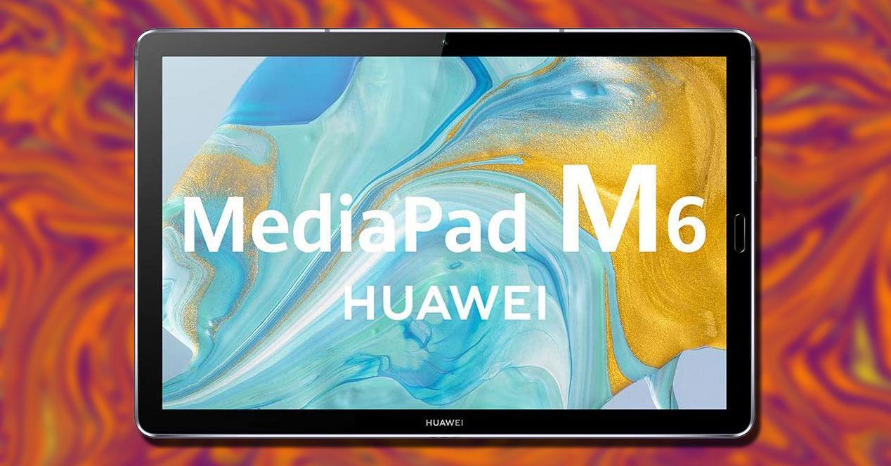 Tablet Huawei MediaPad M6 con fondo rojo