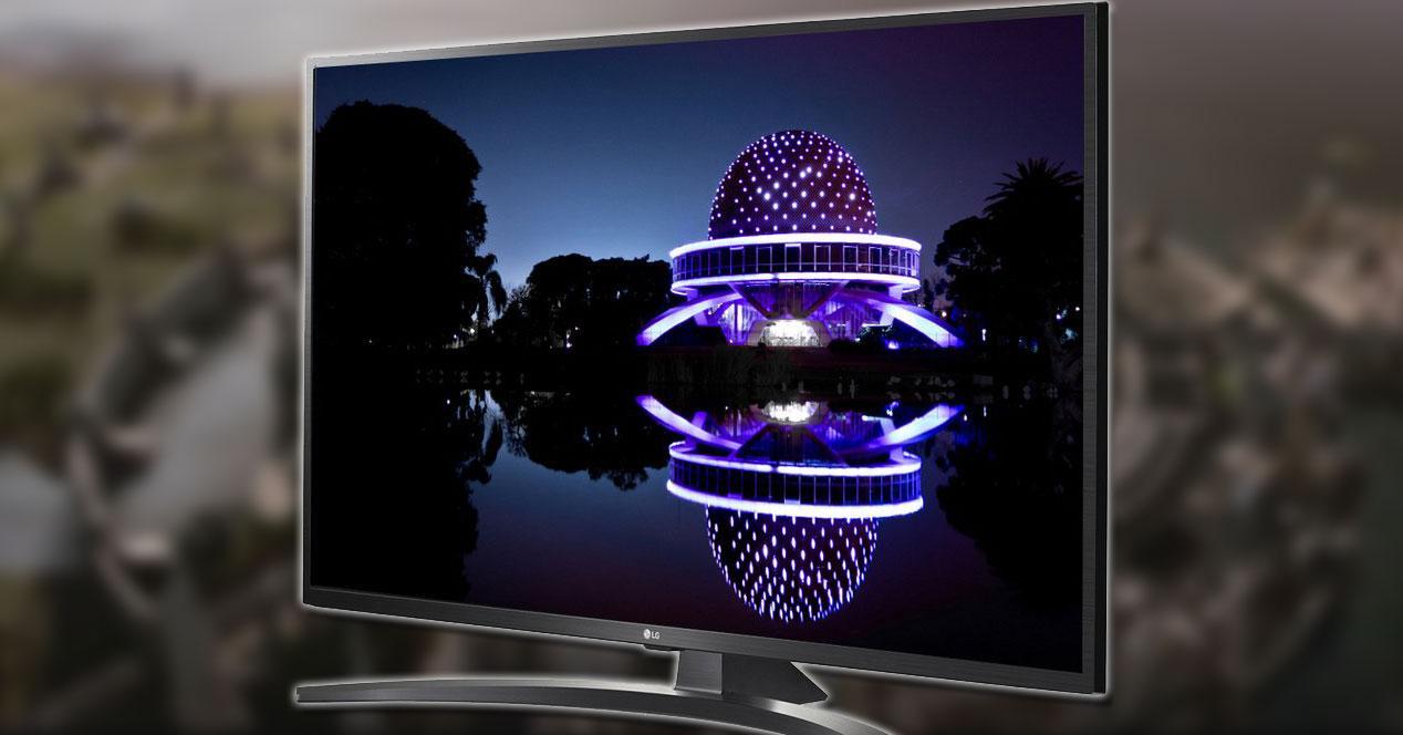 Smart TV LG 43UM7450PLA con fondo