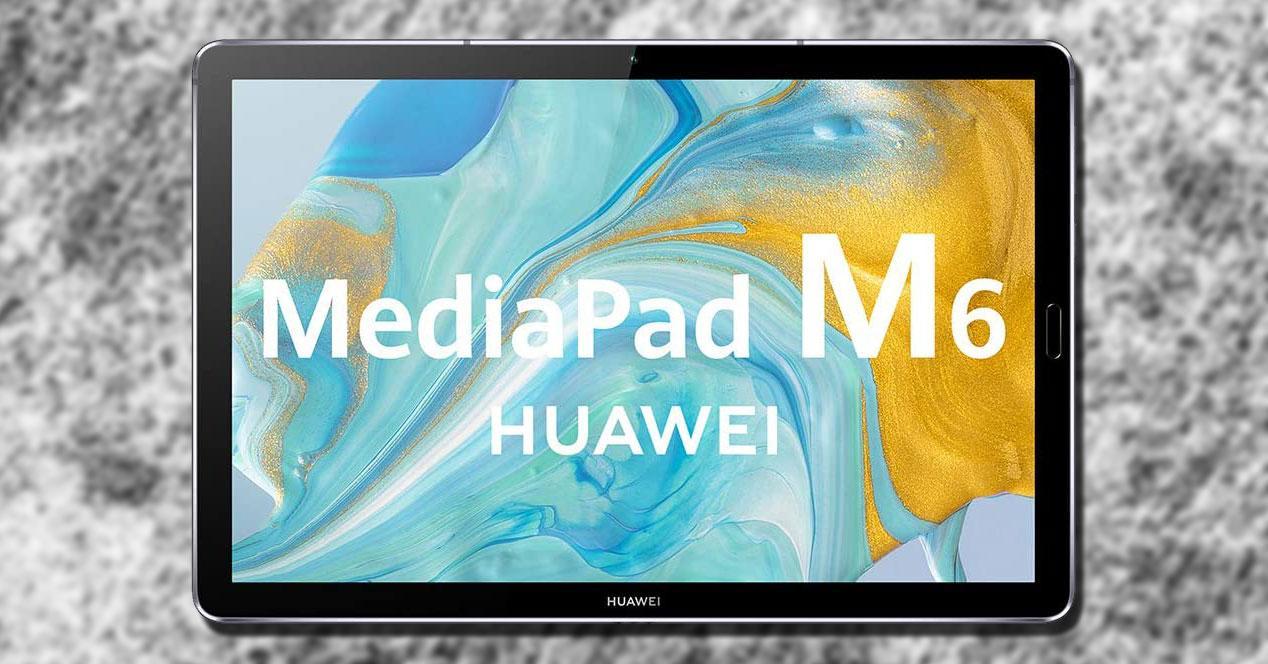 Tablet Huawei MediaPad M6 con fondo
