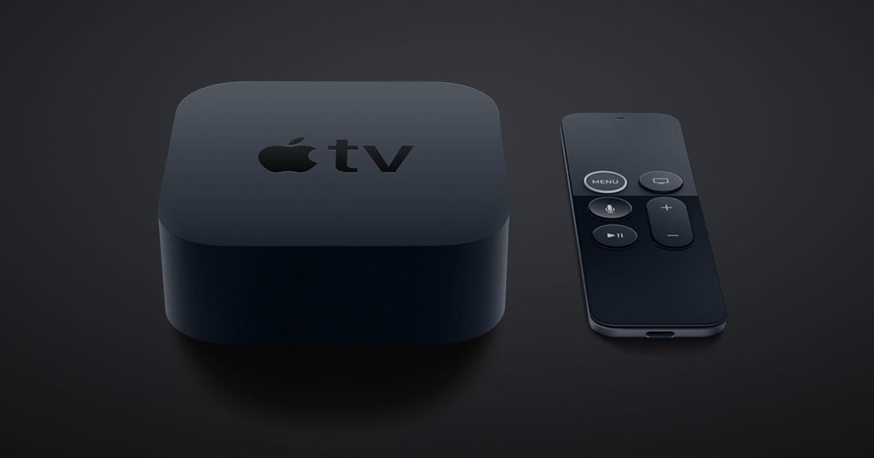 Reproductor Apple TV con fondo negro