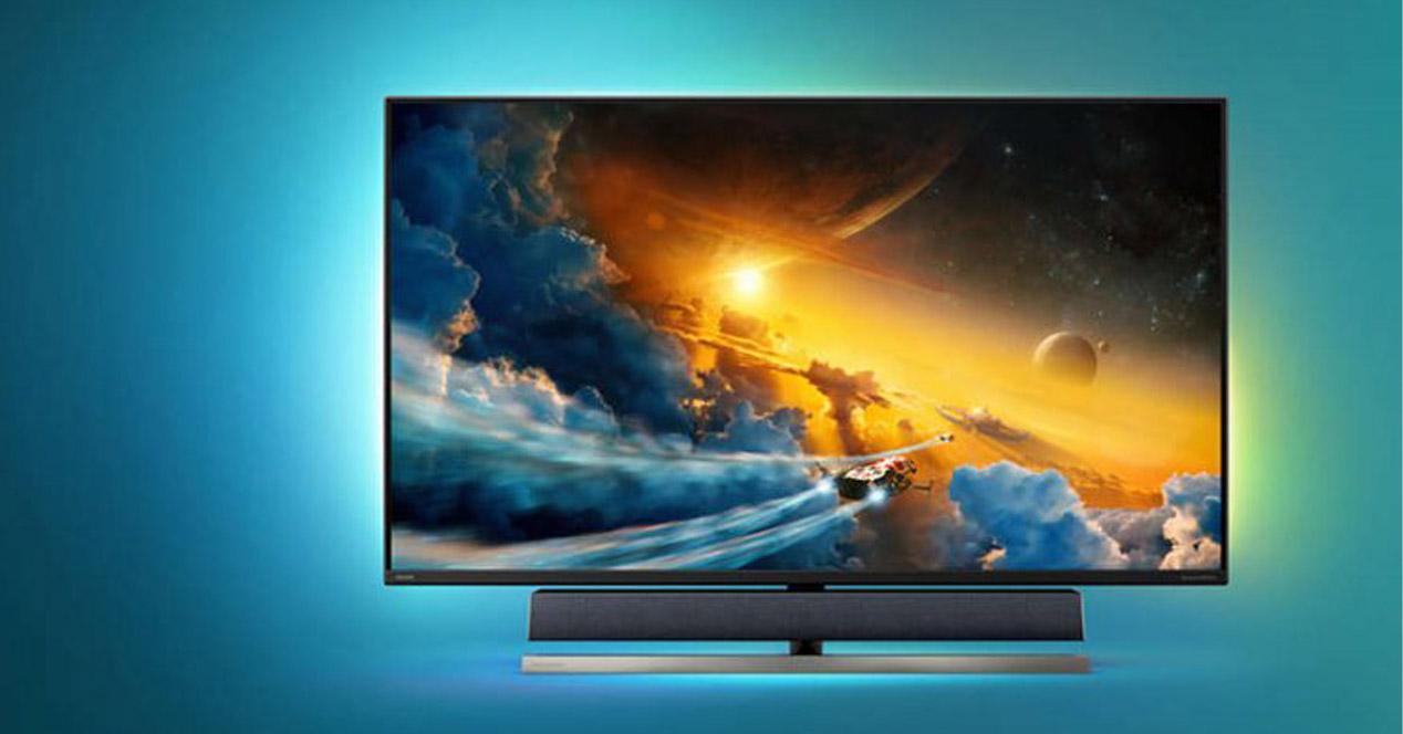 Smart TV de Philips frontal con fondo en azul