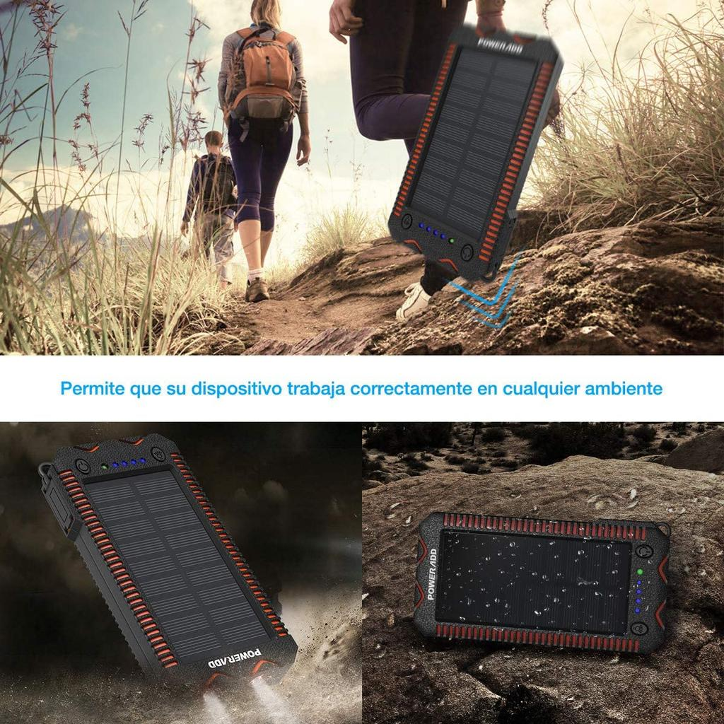 Batería externa solar POWERADD