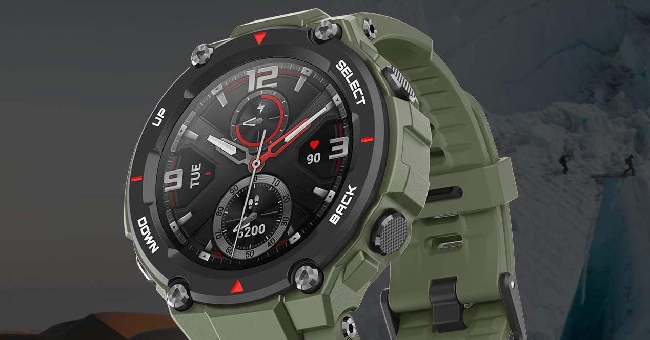 Smartwatch Amazfit T-Rex con fondo