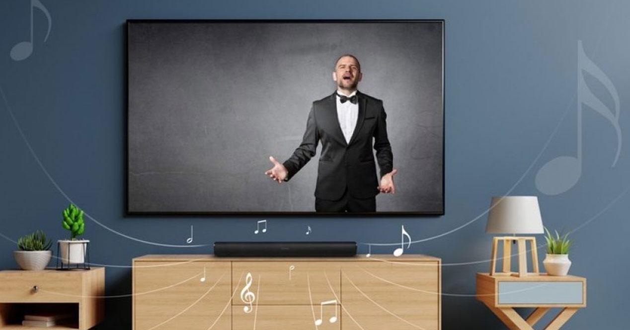 Uso de barra de sonido en salón